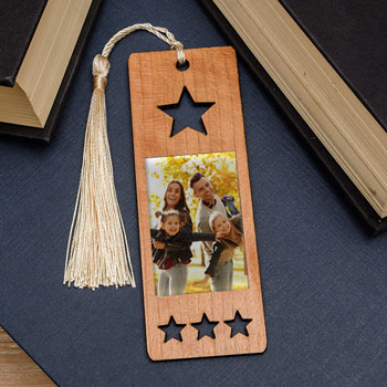Photo Upload Star Wooden Bookmark