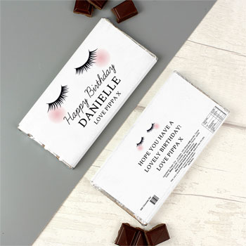 Personalised Eyelashes Milk Chocolate Bar Free Delivery