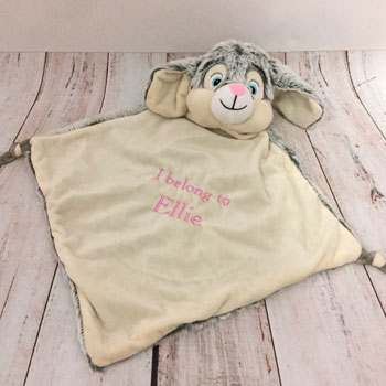 Personalised Grey Cubbies Rabbit Baby Comforter Blankie