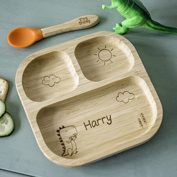 Personalised Dinosaur Bamboo Suction Plate & Spoon Set
