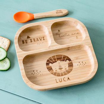 Personalised Lion Bamboo Suction Plate & Spoon Set