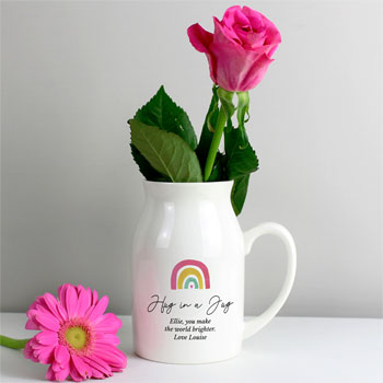Personalised Ceramic Rainbow Flower Jug