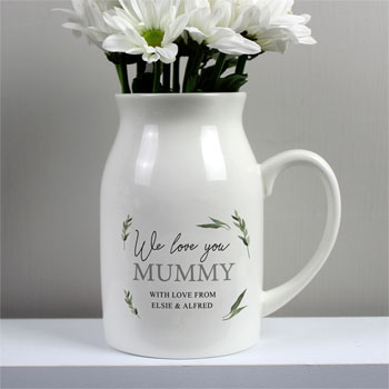 Personalised Botanical Flower Ceramic Jug