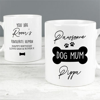 Personalised Pawsome Dog Mum Ceramic Mug