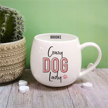 Personalised Crazy Dog Lady Hug Mug