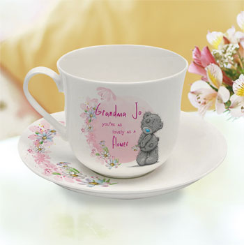 Personalised Me To You Lovely As A Flower Cup & Saucer