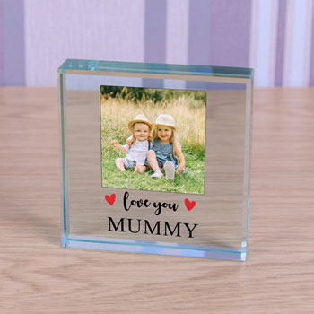 Large Personalised Glass Photo Token - Love You With Hearts