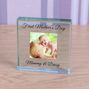 First Mothers Day Large Glass Photo Token  - Mummy & ...