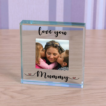 Personalised Large Glass Photo Block - Love You Mum/Mummy