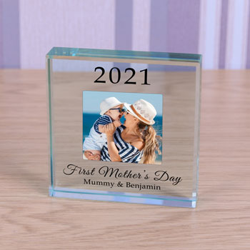 Personalised Glass Block First Mothers Day Year & Message