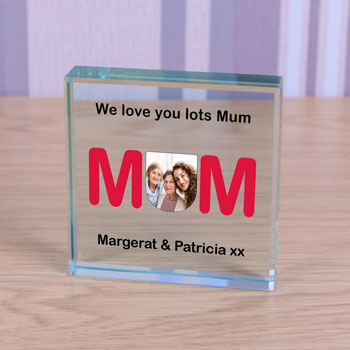 Large Personalised Glass Photo Block - MUM