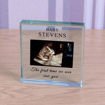 Large Personalised Glass Block Baby Scan Photo