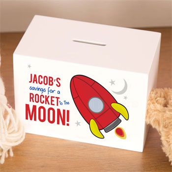 Personalised Kid's Wooden Rocket Space Ship Money Box