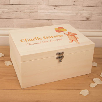Personalised Teddy With Balloons Wooden Baby Keepsake Box