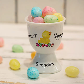 Girl's Personalised Easter Chick Bone China Egg Cup