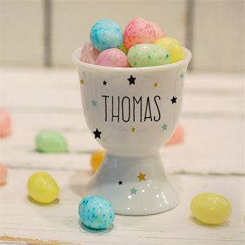 Child's Personalised Name in Stars China Egg Cup