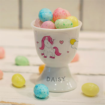 Girl's Personalised Unicorn Footed White China Egg Cup
