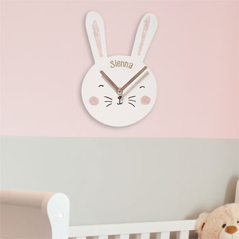 Children's Personalised White Wooden Bunny Face Clock