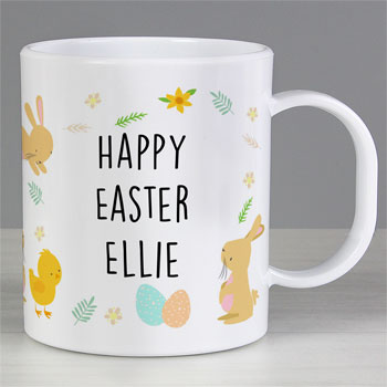 Kid's Personalised Easter Bunny & Chick Plastic Mug