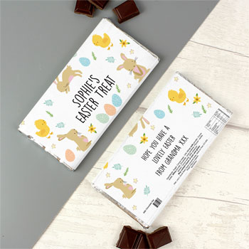 Kid's Personalised Easter Bunny & Chick Milk Chocolate Bar