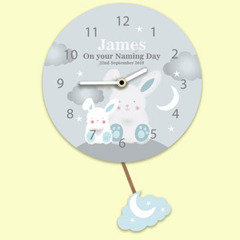 Baby Boy's Personalised Silent Tick Bunnies Pendulum Clock