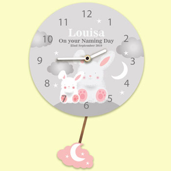 Baby Girl's Personalised Silent Tick Bunnies Pendulum Clock