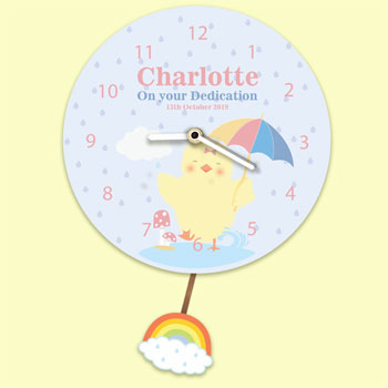 Baby Girl's Personalised Silent Tick Chick Pendulum Clock