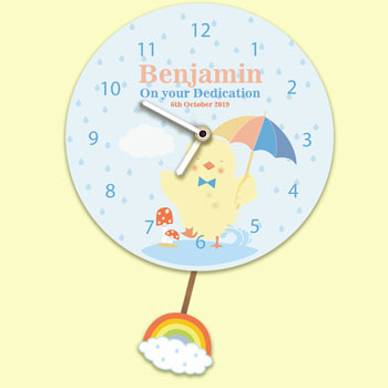 Baby Boy's Personalised Silent Tick Chick Pendulum Clock