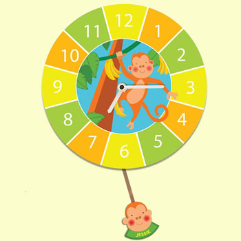 Kid's Customised Monkey Pendulum Silent-Tick Wall Clock