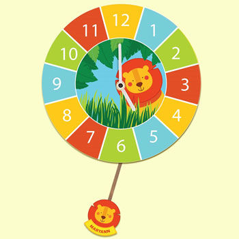 Children's Bespoke Silent-Tick Lion Pendulum Wall Clock