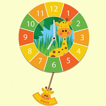Children's Personalised Giraffe Pendulum Silent Wall Clock