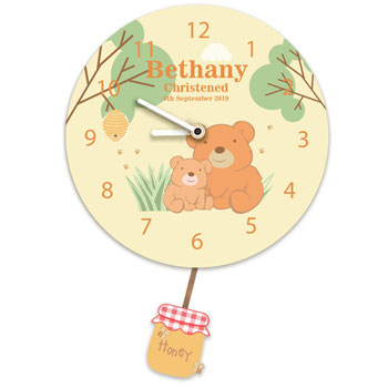 Teddy Bear Personalised Silent Tick Nursery Pendulum Clock