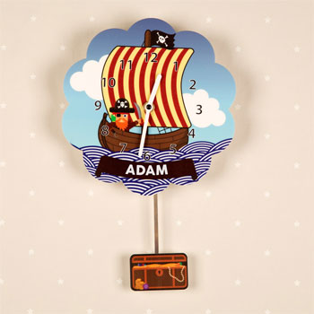 Boy's Bespoke Pirate Ship Silent Tick Pendulum Wall Clock