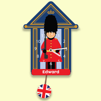 Children's Personalised Soldier Silent Pendulum Wall Clock
