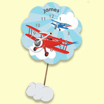 Boy's Personalised Airplane Silent Tick Pendulum Wall Clock