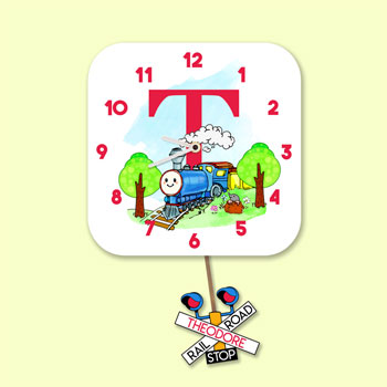 Personalised Alphabet Train Pendulum Wall Clock