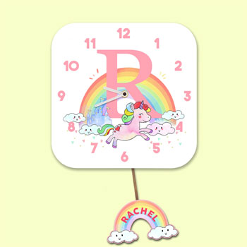 Girl's Personalised Initial Unicorn Pink Pendulum Wall Clock