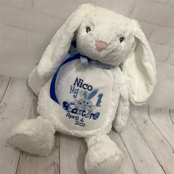 Personalised White Mumbles First Easter Bunny - Pink/Blue