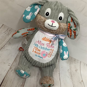Cubbies Personalised Harlequin Bunny Carrot Edition
