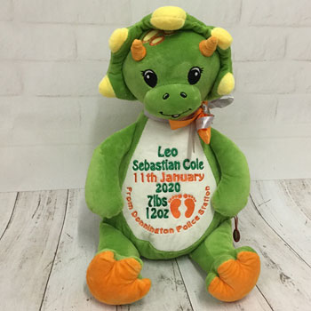 Boy's Personalised Embroidered Green Cubbies Dinosaur Teddy