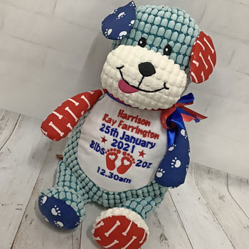 Personalised Cubbies Embroidered Dog Teddy