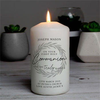 Personalised Truly Blessed First Holy Communion Candle