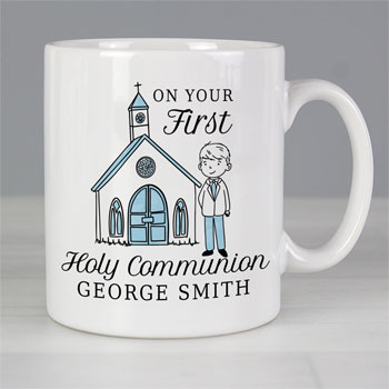 Personalised Boy's First Holy Communion Blue Ceramic Mug