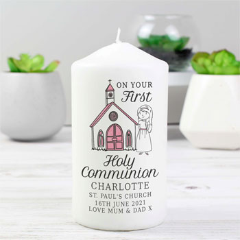 Personalised Girl's First Holy Communion Pink Pillar Candle
