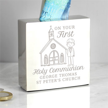 Personalised Boy's First Holy Communion Square Money Box