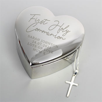 Personalised First Holy Communion Heart Trinket Box & Cross