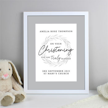 Personalised Truly Blessed Christening White Framed Print