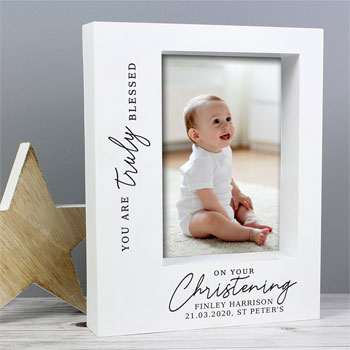 Personalised Truly Blessed Christening 5x7 Box Photo Frame