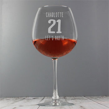 Personalised Big Age Whole Bottle of Wine Glass