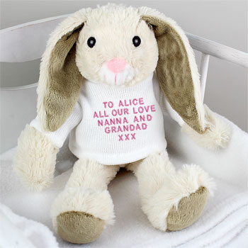 Personalised Easter Bunny - Pink or Blue Embroidery